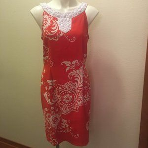 Connected Apparel-red&white dress